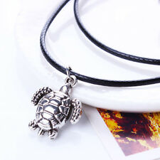 Stylish Jewelry Silver Turtle Pendant Leather Chain Long Choker Chunky Necklace