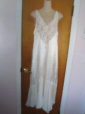 VICTORIA's SECRET Long Bridal Wedding Night Silky Beaded Ivory NEGLIGEE Sz Med