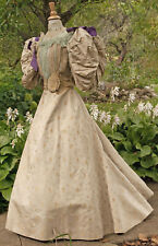 Antique Dress c1893s High Neck 2-Pc Balloon Sleeves Label Museum De-Accessioned