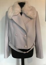 BNWT French Connection Platform Faux Fur Cashmere & Wool Jacket Size 12
