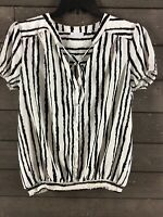 New York & Co 1178 Off White Black Striped Tie Front Button Blouse Womens L