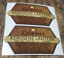 TWO (2) NEW COLEMAN 234 KEROSENE LANTERN STICKER DECAL LANTERN STOVE LARGE REPL