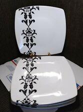 """New listing 4 Coventry Porcelain 10"""" Square White + Black Floral Dinner Plates"""