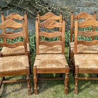 Oak Set of 6 Ladderback Country Farmhouse Dining Chairs w/ Rush Seats Echt Eiche