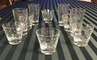 10 Mid-Century Hazel Atlas Clear Glass CAPRI DOTS  6 Rocks & 4 9 oz Tumblers