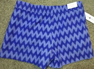 Womens Blue Chevron Print Peace & Pearls Relaxed Fit Pull On Shorts,  Size M