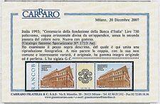 ITALIA REPUBBLICA Varietà -  Sassone Specializzato 713 Aa - certificato CARRARO