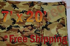 7' x 20' Camo Brown Beige Tarp Hunting Firewood Waterproof Camping Woodpile ATV