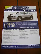 2011 - 2012 SHELBY GTS V-6 MUSTANG ***DOUBLE SIDED SALES SHEET / BROCHURE***
