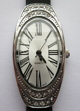 Avon Silver Quartz Ladies Watch With Black Rubber Vinyl Wrist Strap,Roman Number