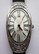 Avon Silver Quartz Ladies Watch With Black Rubber Vinyl Wrist Strap,Roman Number