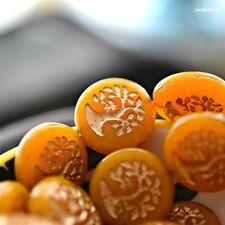 1 Little Bonsai - Czech Glass, Orange, Yellow, Metallic Bronze, Bonsai Beads