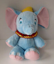 "Disney 13"" Blue & Pink Baby Dumbo Elephant Red Ruffle Collar w/ Yellow Trim Toy"