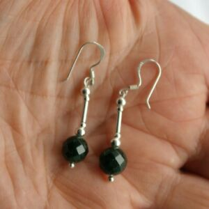 Earrings With Faceted Green Sunstone  2.6 Cm Long + 925 Silver Hooks In Gift Box