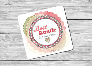 Personalised Best Auntie, Aunt Drink Coaster Mat Birthday, Christmas Gift