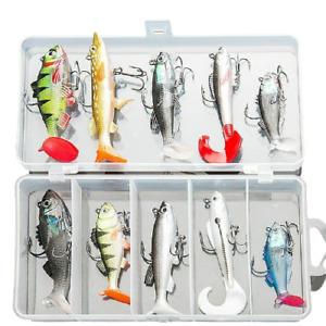 Fishing Lure Set With Box Wobblers Artificial Bait Silicone Sea Bass Worm Fish