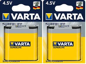 2x Varta Batterie Zink-Kohle, Block, 3R12, 4.5V Flachbatterie Typ 2012 3R12 MHD