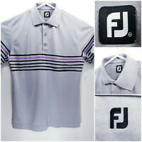 FootJoy FJ Mens Medium Golf Shirt Polo Gray Black Purple Polyester