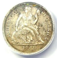 1869-S Seated Liberty Dime 10C - Certified ANACS AU50 Details - Rare Date Coin!