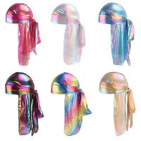 Men Women Silk Laser Polyester Bandana Hat Durag Rag Tail Wrap Headwear Gift Cap
