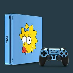 PS4 Slim Vinyl Skin & 2x Controller Skins, The Simpsons Maggie Simpson Themed.