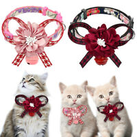 Big Flower Bowknot Breakaway Cat Collar with Bell for Small Large Kittens