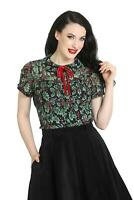Hell Bunny Holly Berry Christmas Festive 50s Vintage Retro Blouse Xmas Party Top