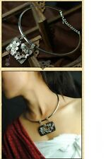 Women's Vintage Rose Wood Pendants Miao Silver Simple Choker Necklace Jewellery