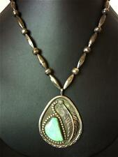 Old NAVAJO TURQUOISE Sterling Silver PENDANT BEAD NECKLACE Hallmarked P w Arrow