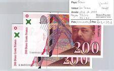 FRANCE - 2 BILLETS - 200 FRANCS - 1995 ET 1999 - QUASI NEUFS