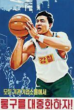 North KOREA Anti-American Propaganda Poster Print BASKETBALL SPORTS A3 + #D027