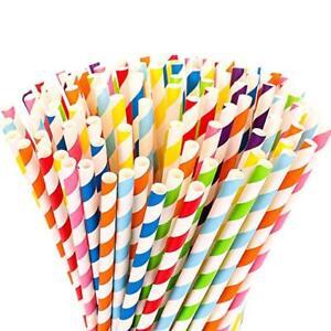 40 Paper Drinking Straws Retro Stripe Vintage Birthday Wedding Cold Drinks Straw