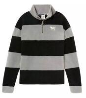 Victoria Secret Pink Polar Fleece Half Zip Grey Stripe XS NWOT V004