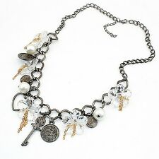 charms statement bib vintage collar chunky necklace boho key chains dangle