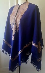 Vintage Purple Wool Embroidered Poncho, Hippie Boho Ethnic