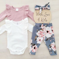 3Pcs Newborn Toddler Baby Girls Flower Top Romper Long Pants Outfits Clothes USA