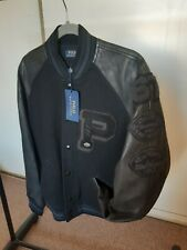 Polo Ralph Lauren leather wool letterman varsity football jacket L brand new
