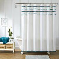 """Better Homes & Gardens Pom Pom Fabric Shower Curtain Corsair 72"""" x 72"""""""