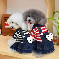 Warm Pet Dog Dress Denim Flannel Pet Clothes Skirt Apparel XS S M L XL
