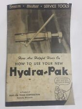 SNAP-ON HYDRA-PAK How To Use Guide And Parts List