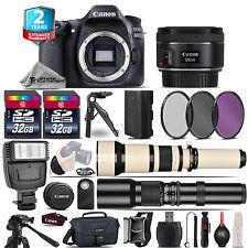 Canon EOS 80D DSLR Camera + 50mm + 650-1300mm + 500mm + 2yr Warranty -64GB Kit