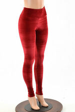 LARGE Soft Red Stretch Velvet High Waist Spandex Leggings Ready To Ship!