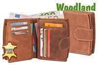 Woodland® Leder Damen Geldbörse mit vielen Kreditkartenfächern in Hellbraun
