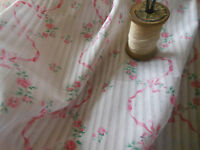 Antique Vintage French Pink Roses Garland Ribbon Dimity Batiste Cotton Fabric