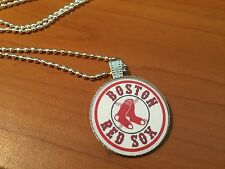 BALL CHAIN NECKLACE WITH BASEBALL BOSTON RED SOX LOGO CAP PENDANT