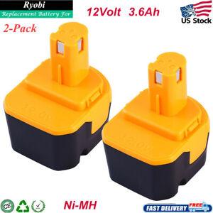 12V For Ryobi 12 Volt 3.6Ah 1311148 Ni-Mh Battery B-8286 BPT1025 RY-1204 2 Packs