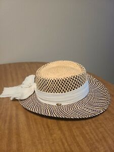 The Scala Collection Womens Straw Hat with White Bandana Wrap