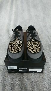 Underground Low Sole Wulfrun Brothel Creepers Grey Suede And Leopard Print UK 7