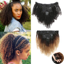 8PCS Mongolian Kinky Curly Afro Hair Wefts Clip in Virgin Human Hair Extensions