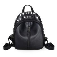 Small Women Backpacks Rivet Zipper Pu Leather Student Backpack Fashion Bag Y1Q8